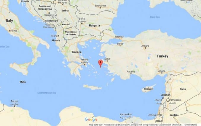 map of where Ikaria island is in the Aegean Sea