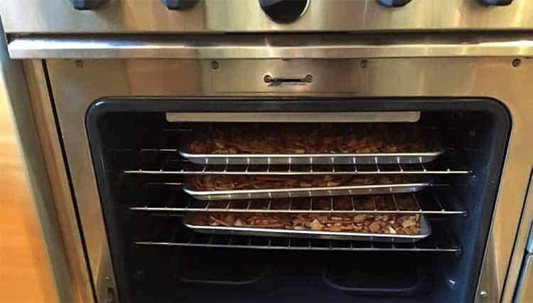 baking Chex Mix in oven