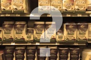 different Sunwarrior protein powders on store shelf