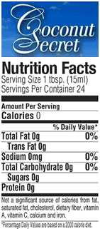 coconut vinegar nutrition facts label