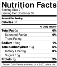 tart chery juice concentrate nutrition facts