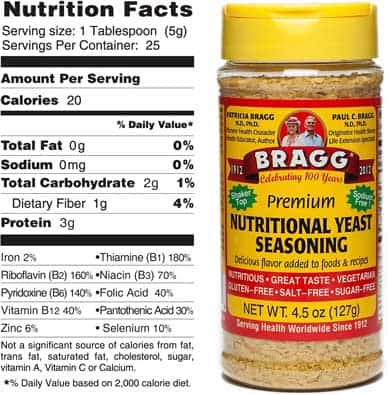 Bragg's nutritional yeast bottle and nutrition facts label