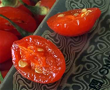 close up of fresh goji cut in half