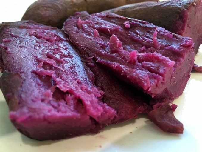 close up of a cooked purple yam