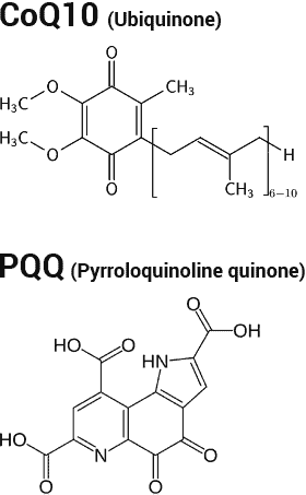 CoQ10 and PQQ chemical structures