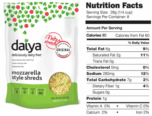 Daiya Mozzarella nutrition facts label