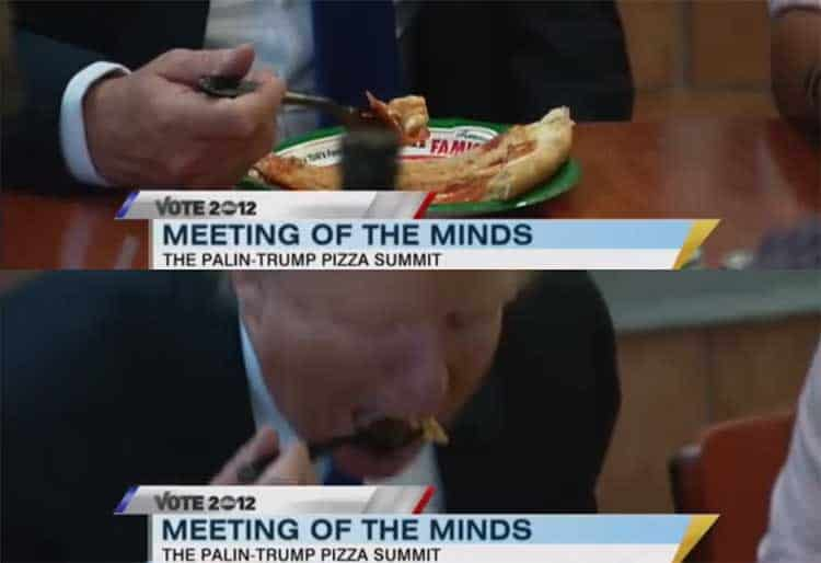 Trump eating pizza using a fork with Sarah Palin