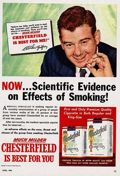1953 ad for Chesterfield cigarettes being healthy
