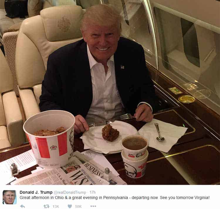 Donald Trump eating Kentucky Fried Chicken on private plane