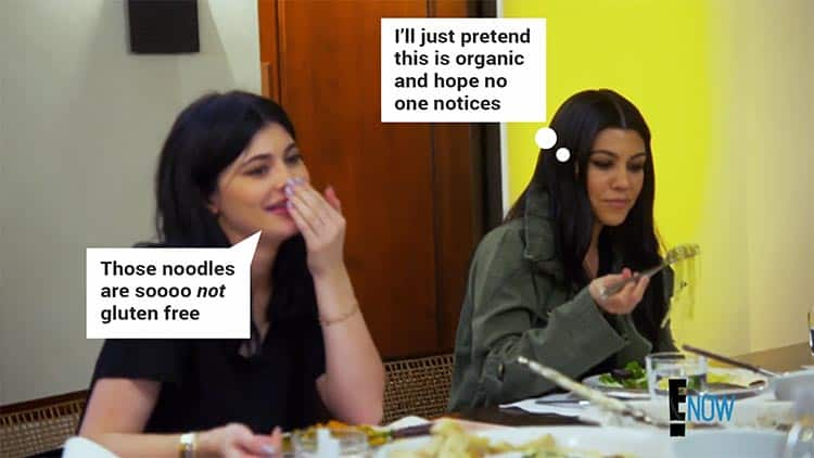 Kourtney eating noodles
