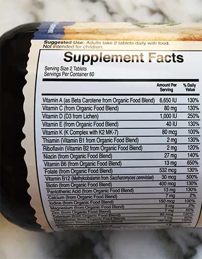 multivitamin supplement facts label