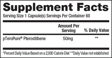 Pteropure supplement facts label