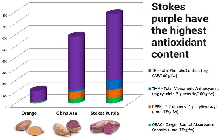 nutrition of Stokes vs. Okinawan vs. orange potatoes