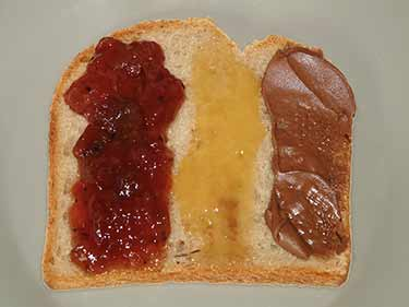 toast with grape jelly and chocolate Nutella