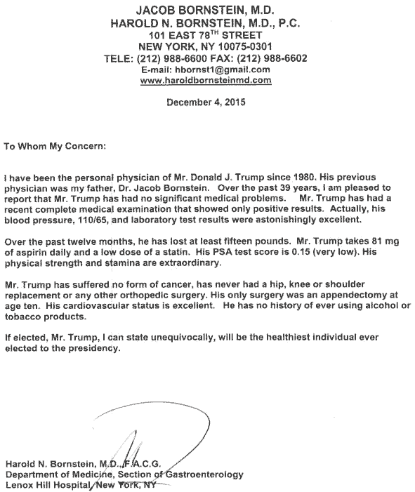 Donald Trump health letter from doctor