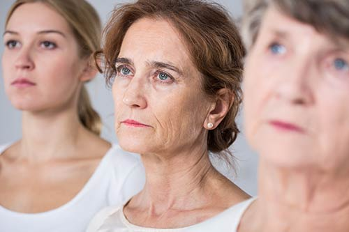 process of woman aging