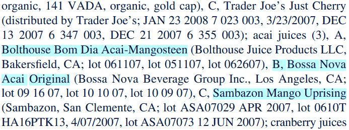 ORAC levels in acai juice from Sambazon, Bolthouse Farms, Bossa Nova