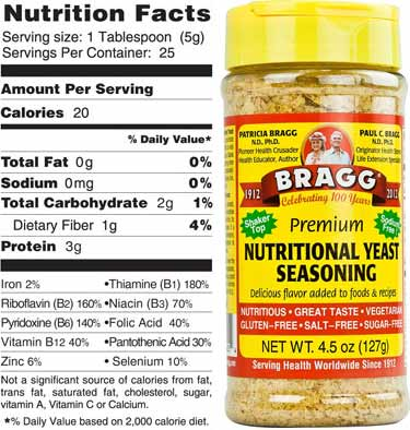 Bragg's nutritional yeast bottle photo and nutrition facts
