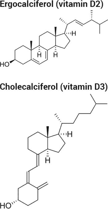 ergocalciferol and cholecalciferol chemical structures