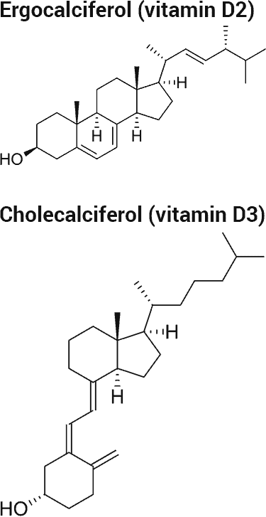 ergocalciferol and cholecalciferol chemical structures