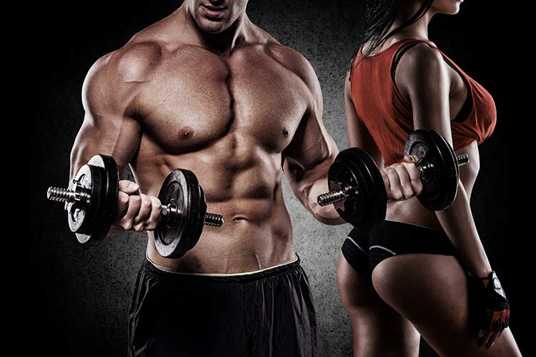 male bodybuilder next to attractive female