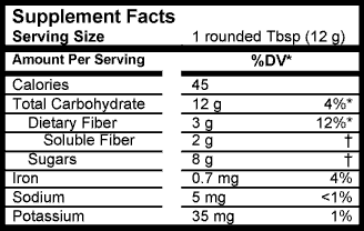 metamucil nutrition facts label