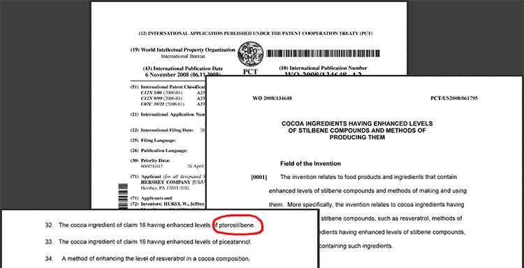 Patente de pterostilbeno de Hershey