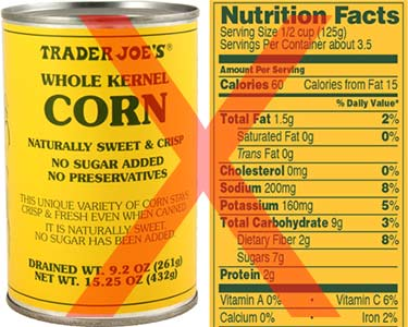 Trader Joes canned corn nutrition facts