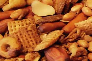 closeup photo of GF homemade Chex Mix