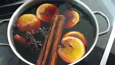 mulled wine in pot on stove