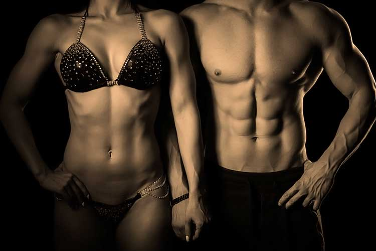 muscular male and female fitness models