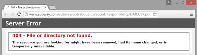 404 error on Subway's site