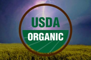 USDA organic logo over storm clouds