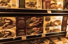 frozen vegan meats at grocery store