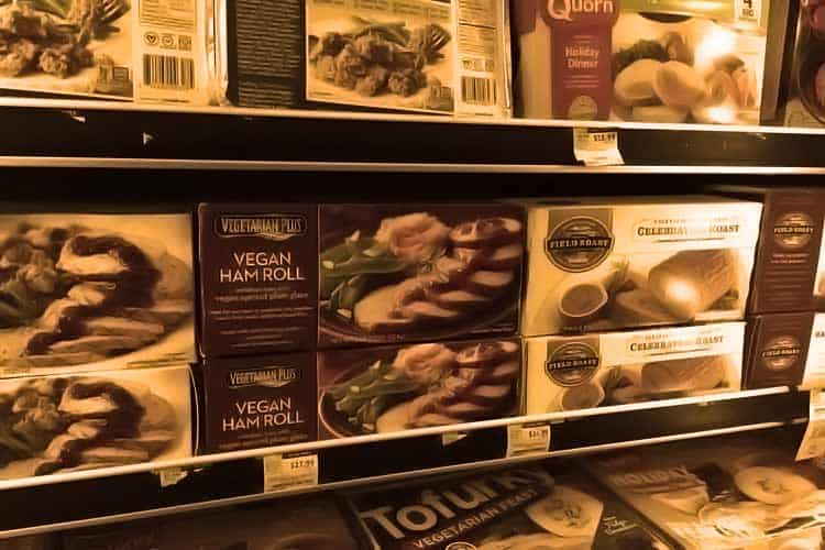 frozen vegan meats at grocery store