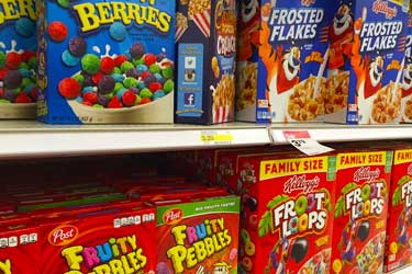 artificial colored kids cereals