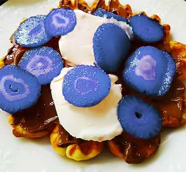 eating sliced blue strawberries on waffle