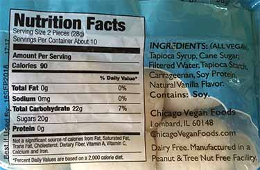 Dandies nutrition facts label
