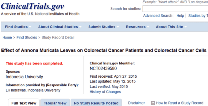 clinical trial of guanabana for colorectal cancer