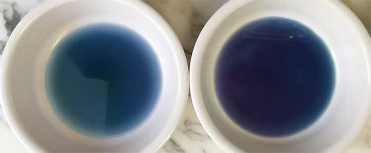 light and dark blue dyes