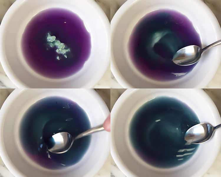making blue food coloring from red cabbage water