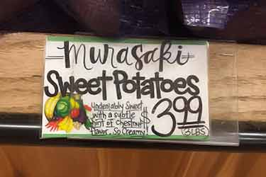 sign with cost of Murasaki potatoes