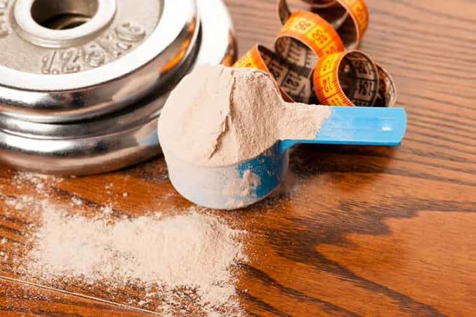 scoop of protein powder next to weights