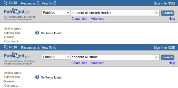 PubMed results for coconut oil and striae
