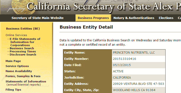 CA Secretary of State entry for Princeton Nutrients LLC