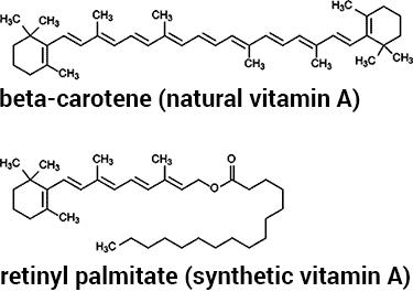 beta carotene vs retinyl palmitate chemical structures