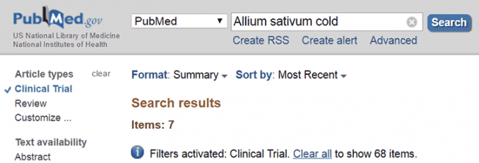 Results for allium sativum cold on PubMed