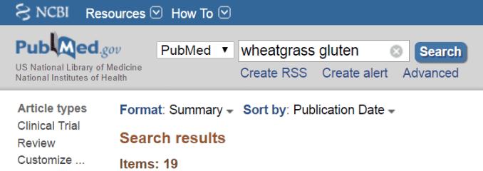 wheatgrass gluten results on PubMed