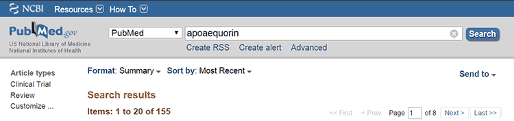apoaequorin research in PubMed database