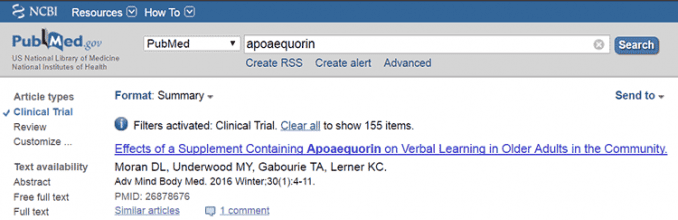apoaequorin clinical trial on PubMed